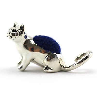 Edwardian Style Miniature Cat Pin Cushion Velvet Sterling Silver 925