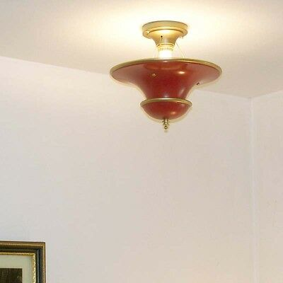 950 Vintage 30'S 40s CEILING LIGHT lamp chandelier fixture glass shade red