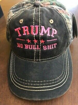 TRUMP NO BULL $HIT CAMO Donald Trump 2016 Cap Mossy Oak Neon Pink Embroidery