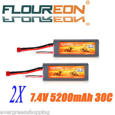 2X 7.4V 5200mAh 2S 30C Lipo RC Battery Pack Deans for RC Helicopter Car RC Hobby