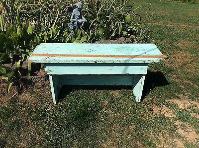 Vintage Primitive Style Blue / Green Wood One Or  Two Person Bench