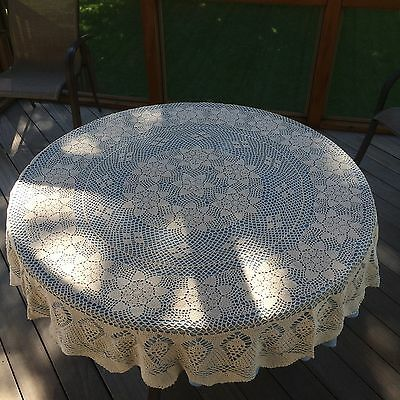 """Crochet Table Clothes 100% Cotton 65"""" Round Hand Crochet Table Clothes"""