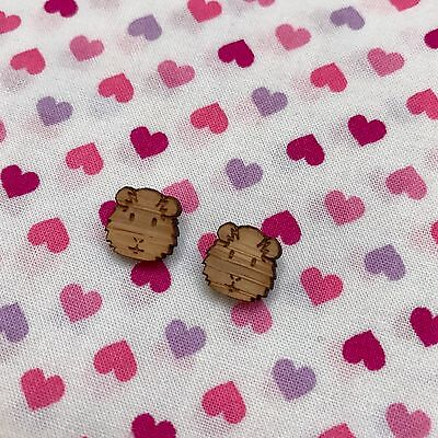 Mini Wooden Guinea Pig Stud Earrings...Cute / Kawaii