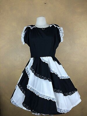 Square Dance Dress Vintage Black & White Swirly Lace Trimmed