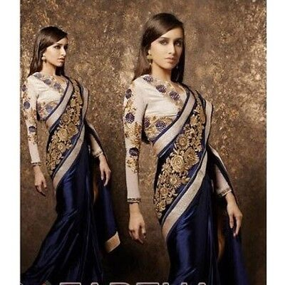 Indian Ladies Navy Blue Gold Embroidered Party Wedding Saree Sari Unstitched