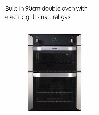 Belling 90cm Built-In Double Oven With Electric Grill - NAT GAS (BI90GS)