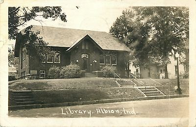 A View of the Library, Albion IN Indiana RPPC 1945
