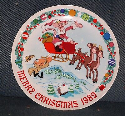 Vintage Pink Panther Merry Christmas 1982 Collector's Plate Sleigh Ride