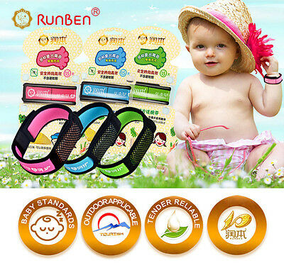 RUNBEN Non-Toxic Mosquito Repellent Bracelet Wrist Band Insect Stop 6 Repellent