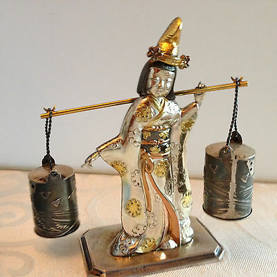 Antique 950 Sterling & Gold Niello Japanese S & P Shakers Geisha Water Buckets