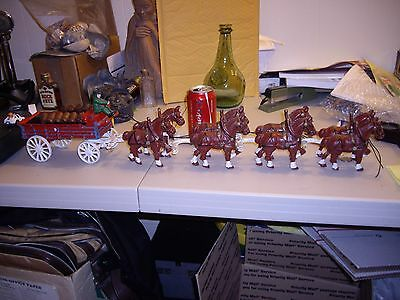 Cast Iron Beer Wagon & Eight Clydesdale Horses & Wood Barrels Vintage Budweiser?