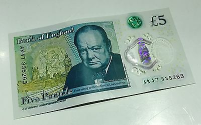 AK47 £5 Bank of England polymer five pound note genuine new note