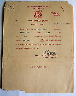 1939 The Commissioner of Ports And Customs English text Collectible letter#L-13