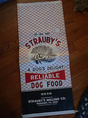 Strauby's Dog Food Milling Co. WEISSPORT PA circa 1960's 50# unused food bag