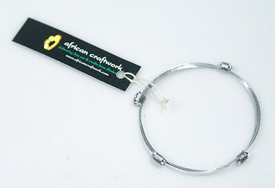 African Elephant Hair Bracelet 4 Knot Stainless Steel ~Zimbabwe! for Good Luck!