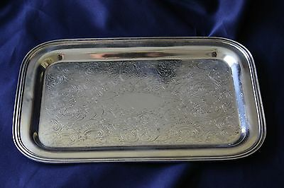Vintage The Sheffield EPC Silver Plate Etched Rectangular Tray USA