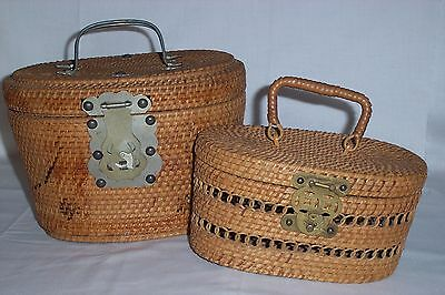 2 Nesting Antique Chinese Wicker Rattan Tea Baskets Purses Fish Latches