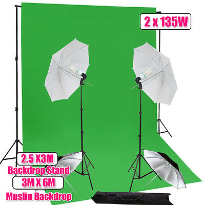 Green Screen Studio Continuous Umbrella Lighting Backdrop Background Stand Kit