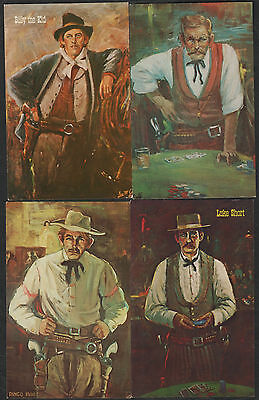 k1957)      4 x  ART POSTCARDS::   GUNFIGHTERS OF THE OLD WEST - BILLY THE KID