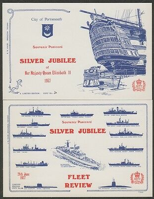 k1946)  2 x ROYALTY POSTCARDS QE2 SILVER JUBILEE 1977- FLEET REVIEW & PORTSMOUTH