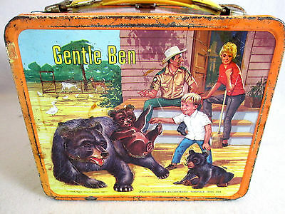 Vintage 1968 Gentle Ben metal embossed lunch box by Aladdin