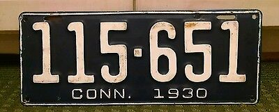 1930 Connecticut License Plate #115-651 REPAINTED