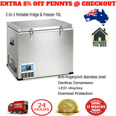 2-In-1 70L Portable Fridge Freezer Camping Car Caravan Boat Cooler Refrigerator