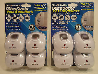 8 Bell Howell Ultra Sonic Pest Mice Bug  Repeller 24/7 Protection 8 Pack Plug In