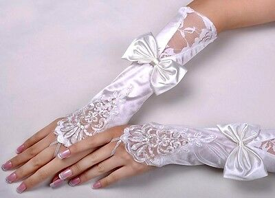 White Elbow Length Lace Pearl Sequin Lace Bow Fingerless Gloves Wedding Bridal