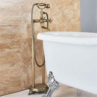 Antique Brass Bathtub Faucet Free Standing Claw-foot Floor Mounted Tub Filler