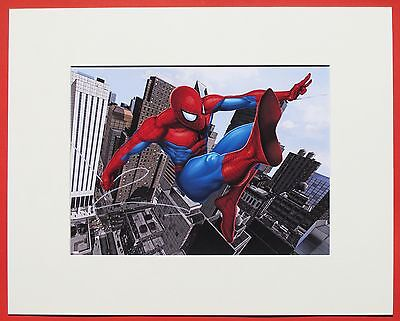 Marvel Kunstdruck  Spiderman swing over the City im Passepartou 40 x 50 cm