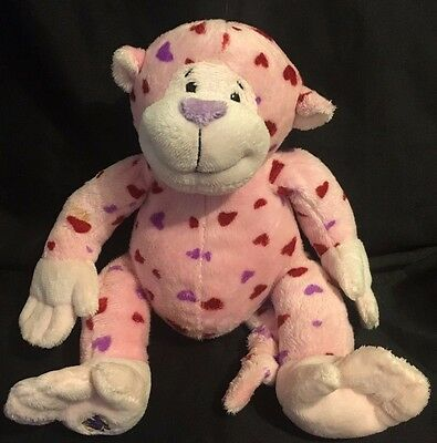 "Webkinz Love Monkey Plush 9"" Stuffed Animal Pink Hearts No Code"
