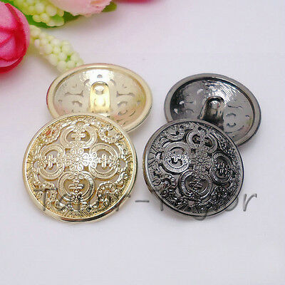 20pcs Round Gold Antique Hollow Coat Metal Buttons Sewing DIY Craft Accessories