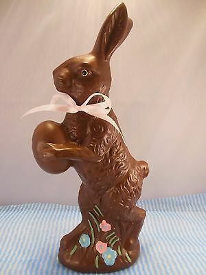 "12"" Easter Basket Faux Chocolate Plastic Resin Bunny Rabbit Figure Decor"