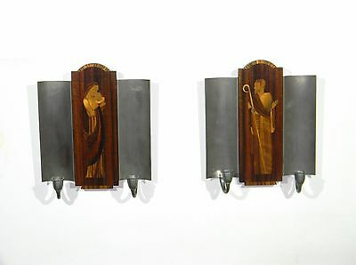 2 Antique Art Deco Wall mount Candlesticks Fixture Sconce Light with Inlay 1930s