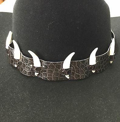 Crocodile Print Leather Hat Band 6 Teeth Adjustable Dundee Outback