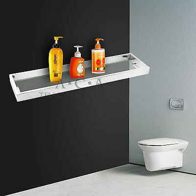 ACA Glass Shelf Single Layer Silver Chrome Stainless Steel Bathroom Wall Mounted