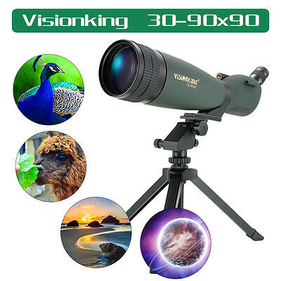 Spotting Scope 30-90x90 Sports Visionking High Power Zoom w/ Tripod Case Green