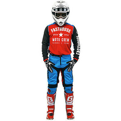 NEW Fasthouse Speed Style Red Blue Black Jersey Pants Gloves Motocross Gear Set