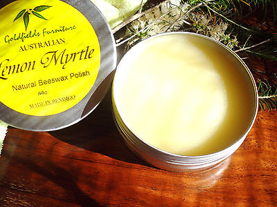 LEMON MYRTLE SCENTED BEESWAX FURNITURE POISH WAX 140g tin natural ingredients