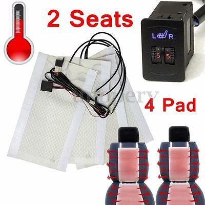 2 Seats 12V Carbon Fiber Heated Seat Heater Pads 2 Dial 5 Level Switch Universal