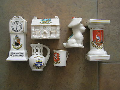 6 Attractive Crested China Items, Inc Goss: See Description For Items & Crests.