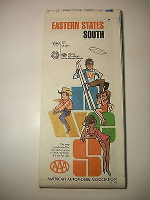 Vintage 1972 Aaa South Eastern United States Highway Road Map Munich Olympics