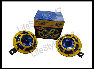 100% Hella 12V Yellow Grill Panther Dual Sharp Tone Horn Set 415/385HZ