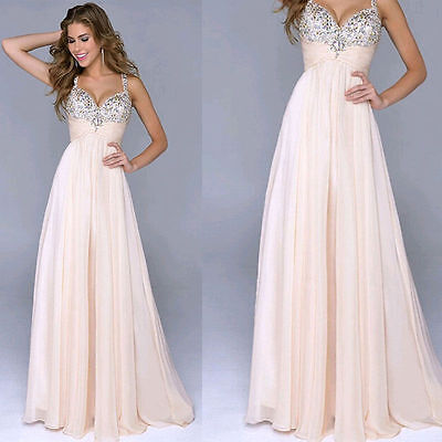 New Champagne Chiffon Bridesmaid Formal Prom Party Ball Evening Dress Size 6-20