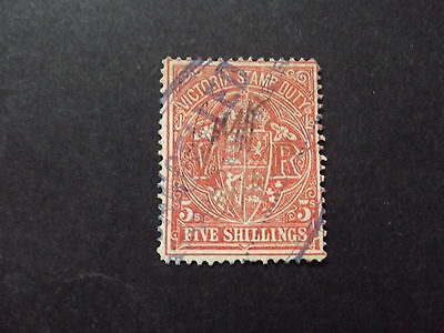 Victoria Stamp Duty 5/- Scarlet  - Used