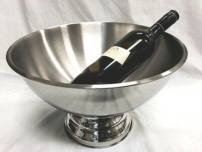 New Polished Stainless Steel Ice Bucket Wine Champagne Cooler Silver D=35cm AU