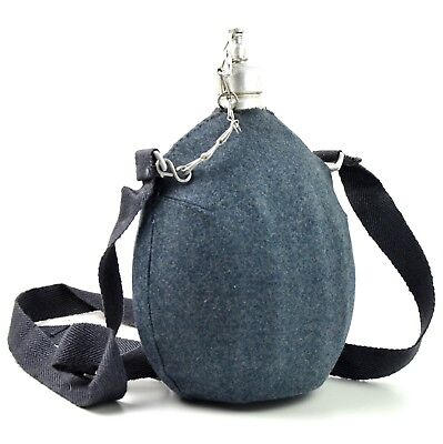 Original Italian army canteen Big italy military water bottle blue with cover