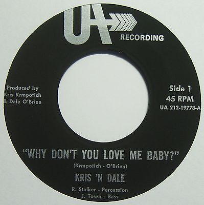 KRIS 'N' DALE Why Don't You Love Me Baby? RARE US PRIVATE 60s FOLK ROCK 45 HEAR