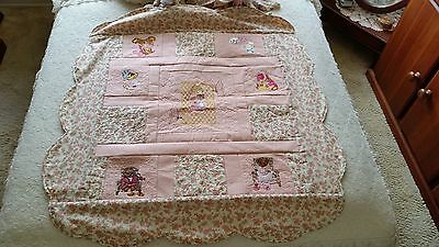 Teddy Bear cot quilt handmade and embroidered